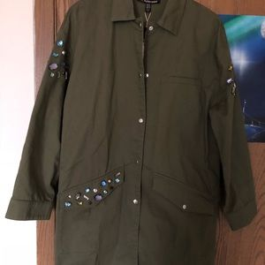 Oversized Olive trench w/ colorful embellishments